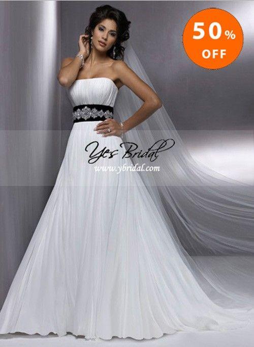 A-line Strapless Chapel Train Chiffon Wedding Dress