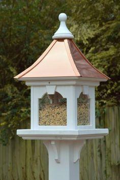 Copper Roof Bird Feeder Large Capacity Post Mount Copper Roof Bird Feeder Gazebo Bird Feeder Wooden Bird Feeders