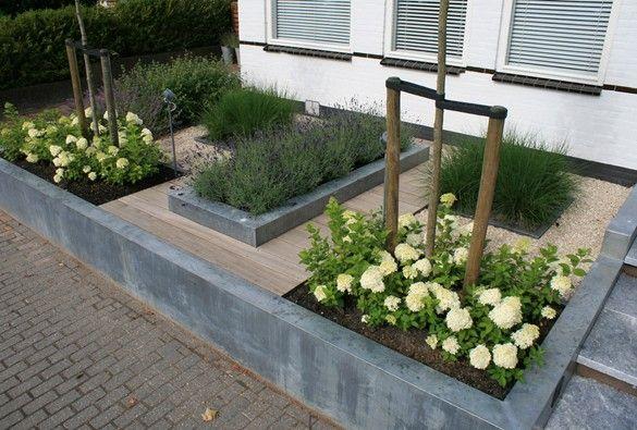 Strakke voortuin tuin garden - Jardineras de cemento ...