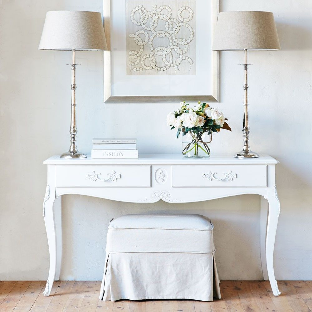 white entrance table. Louis XV Milan Console Table - Antique White Entrance G