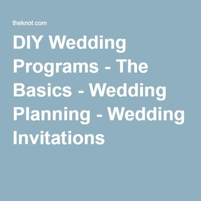 DIY Wedding Programs - The Basics - Wedding Planning - Wedding Invitations