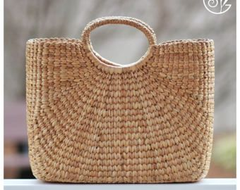 Hand woven mini straw tote picnic basket picnic by seaandgrass