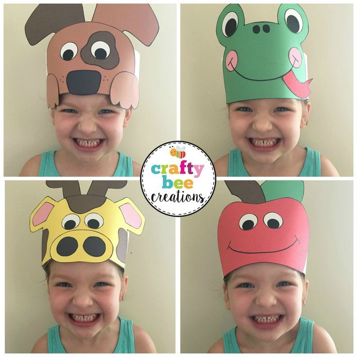 A to z alphabet animal hats cut and paste set easy for Craft hats for kids