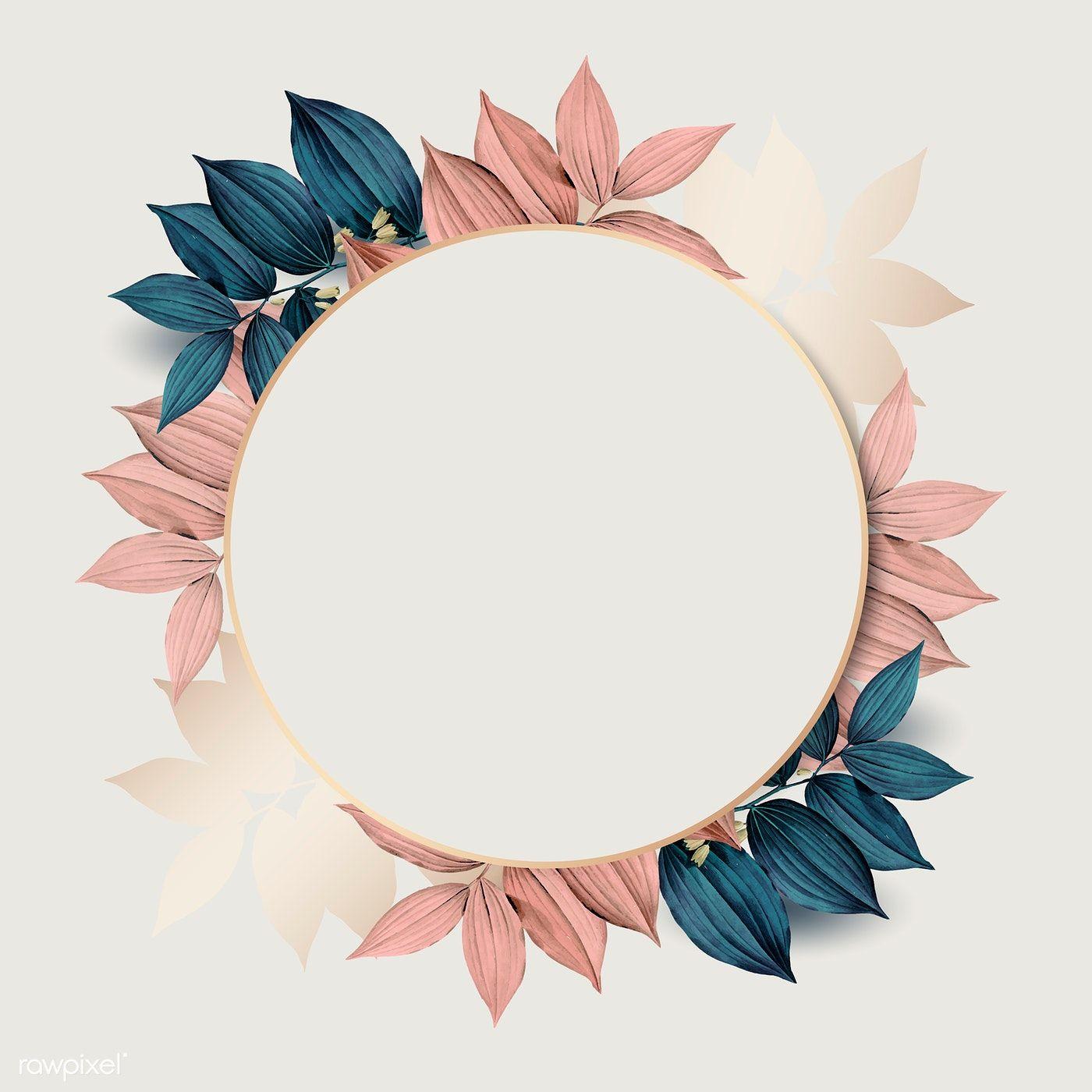 Download premium illustration of Round gold frame on pink and blue leaf