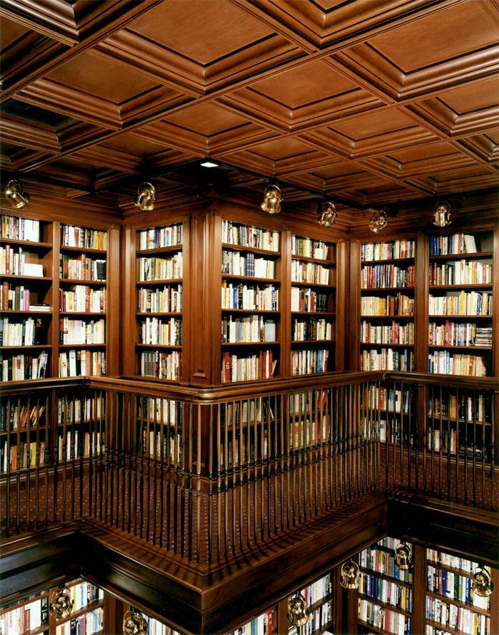 Wood Paneled Library: Gorgeous Paneled Library With Coffered Ceiling By