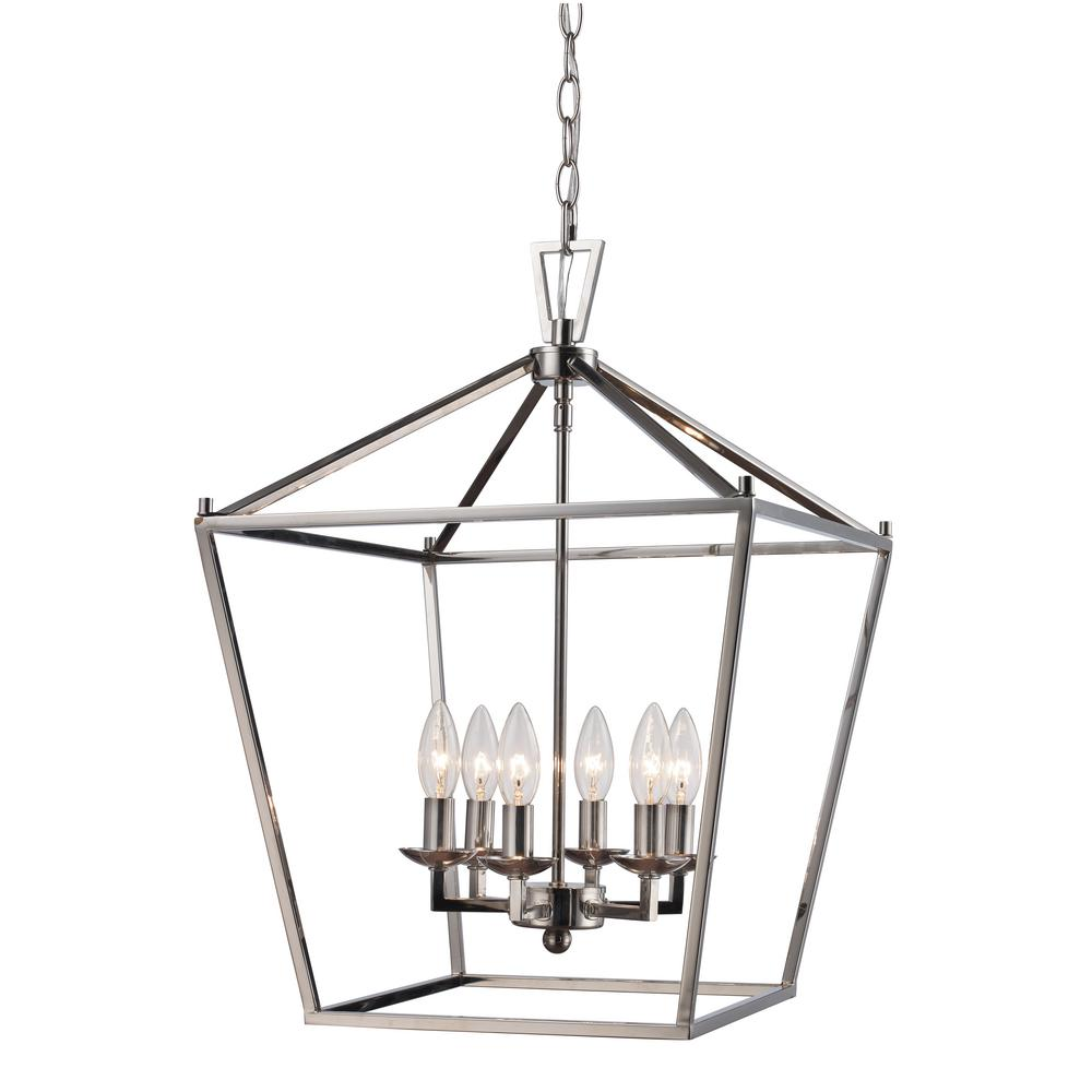 Bel air lighting 6lt pendant polished chrome bird cage 10266 pc the home depot
