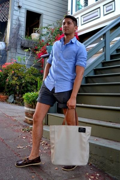sky blue J Crew shirt - beige Ecoalf bag - gray H&M shorts | Men ...
