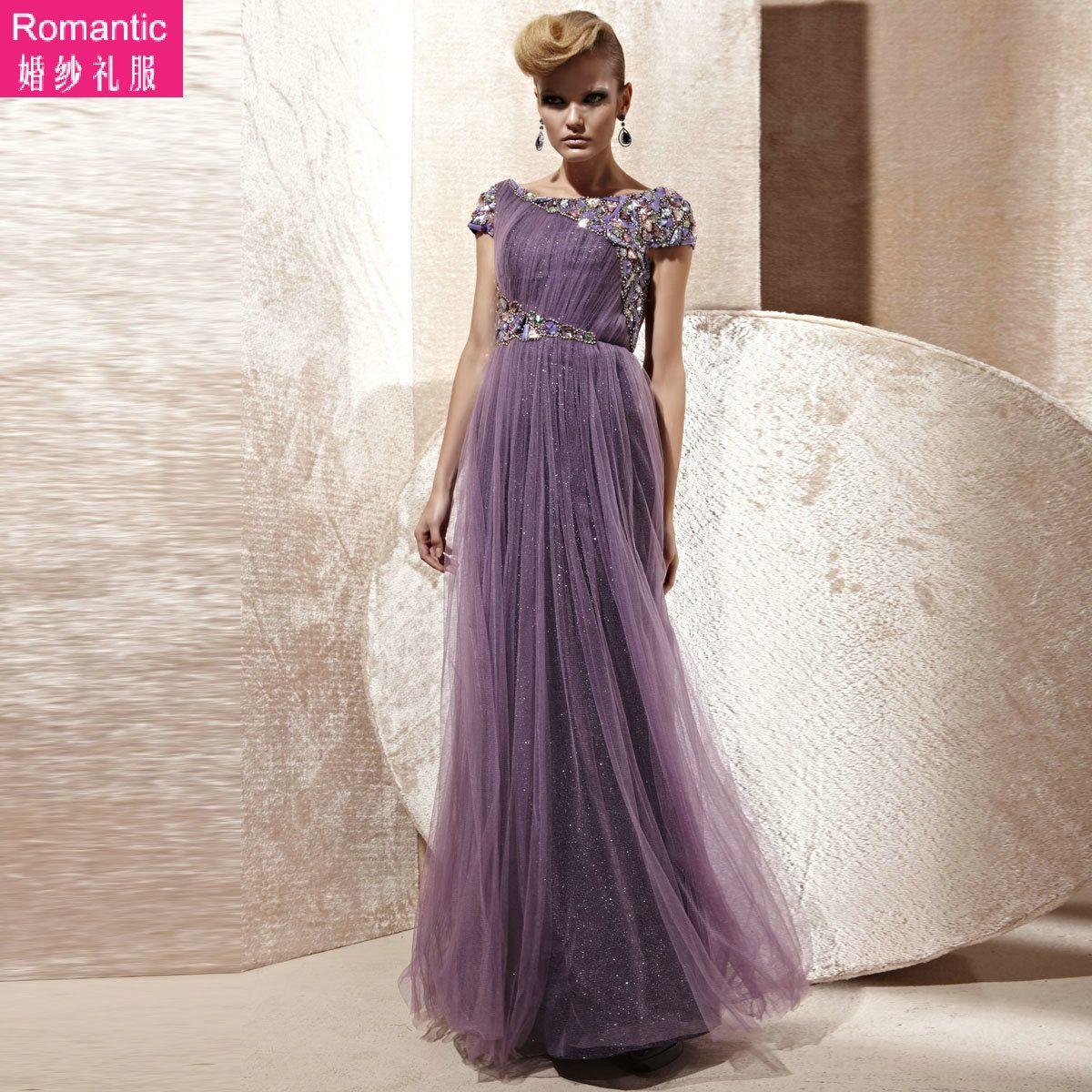 TOP QUALITY purple wedding dress bride long chiffon dress hollywood ...