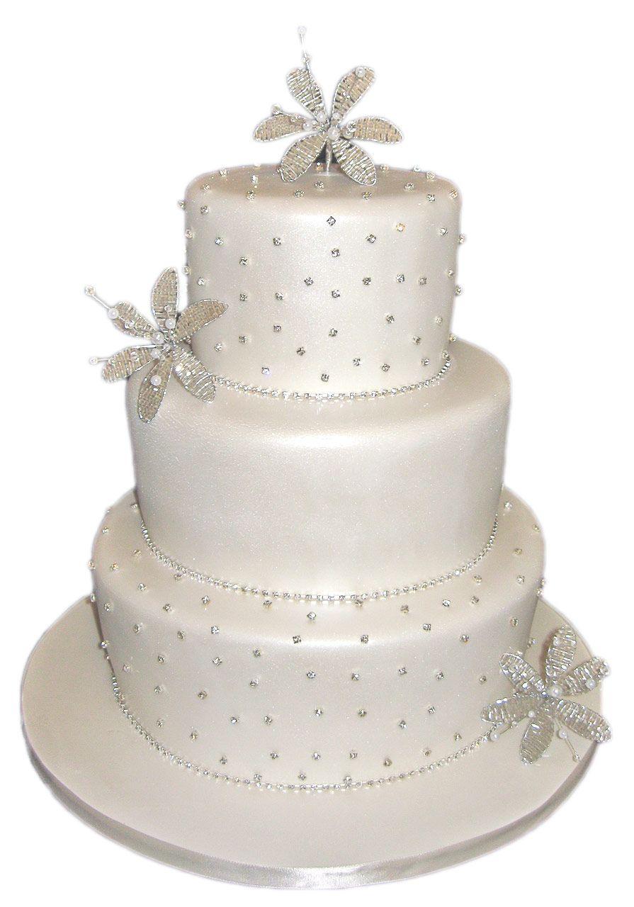 3 Tier pearlised white flower diamante | Beautiful Wedding Cakes ...