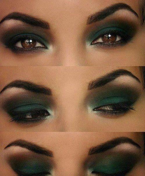 Green Smokey Eyes Beauty In 2019 Eye Makeup Designs