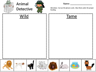 wild animals vs tame animals kindergarten sorting activity my kindergarten blog tame animals. Black Bedroom Furniture Sets. Home Design Ideas