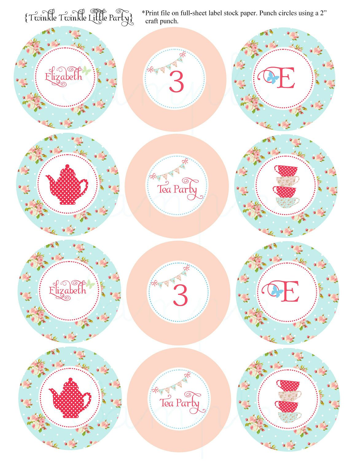 image relating to Tea Party Printable referred to as PRINTABLE Shaby Stylish Tea Occasion Cupcake Toppers Do-it-yourself