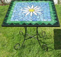square mosaic bistro table | Mosaic Designs and Crafts ...