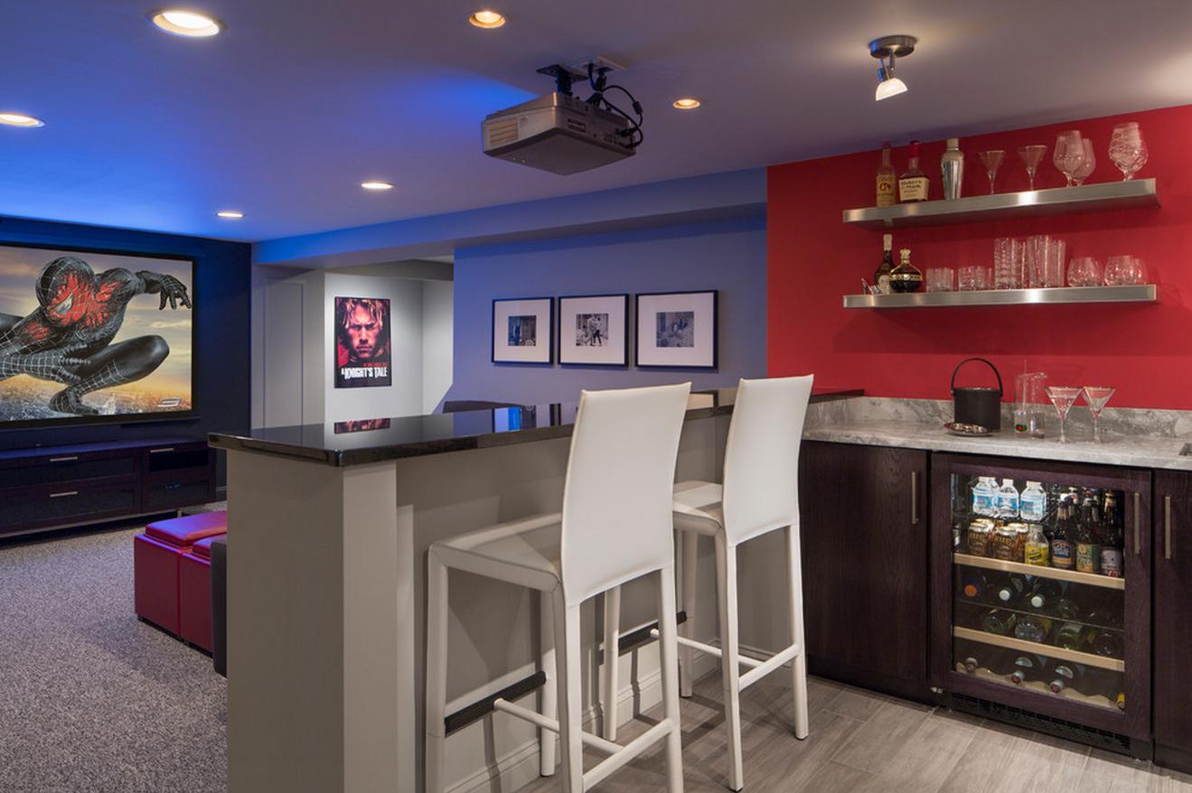 Basement home theater rooms - Designer Showcase Basement Home Theater Room With Marvel Wet Bar The Designer Describes This East