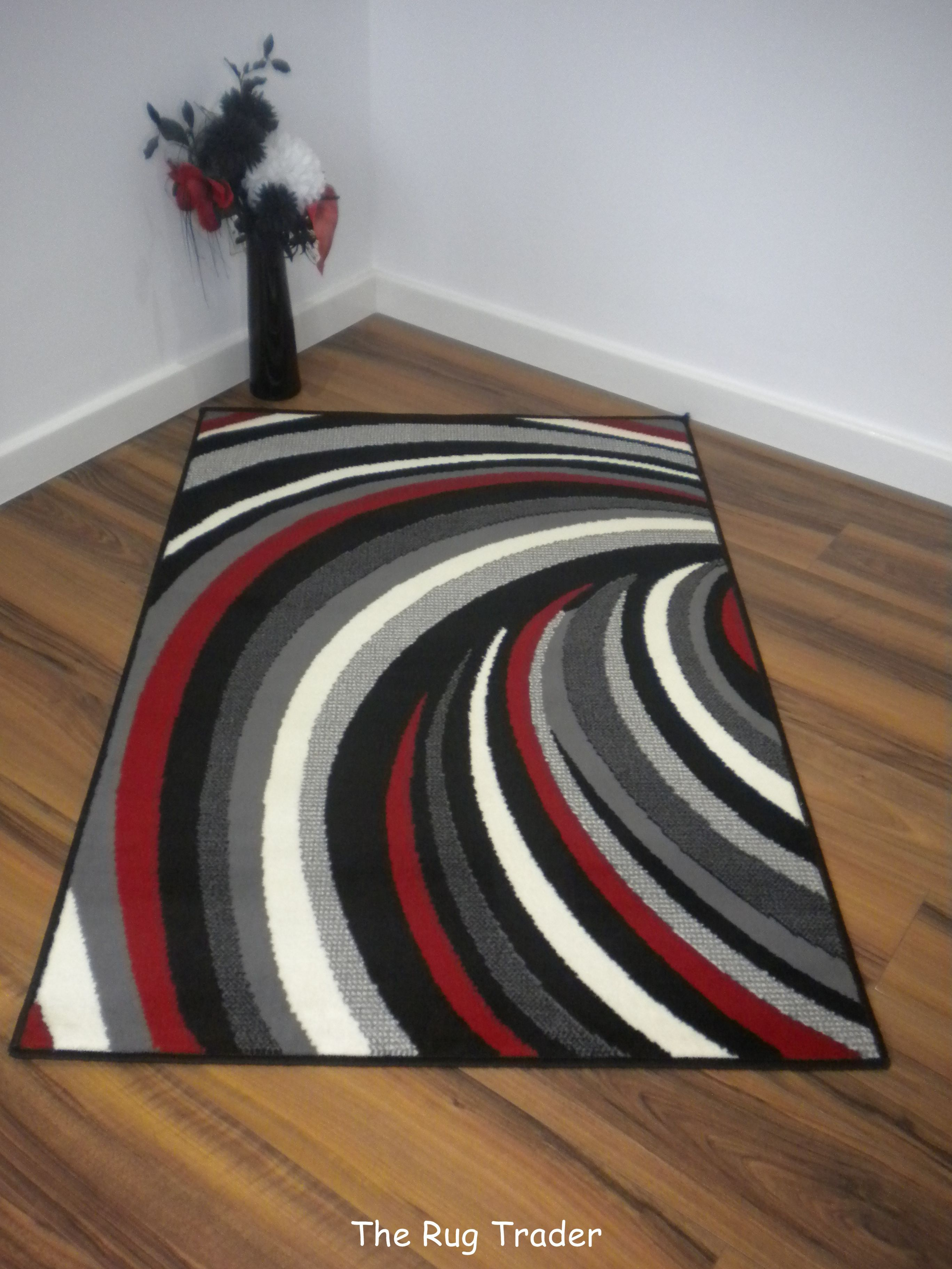 Aqua And Red Rugs Helix Striped Modern Poly Black Red Grey Rug