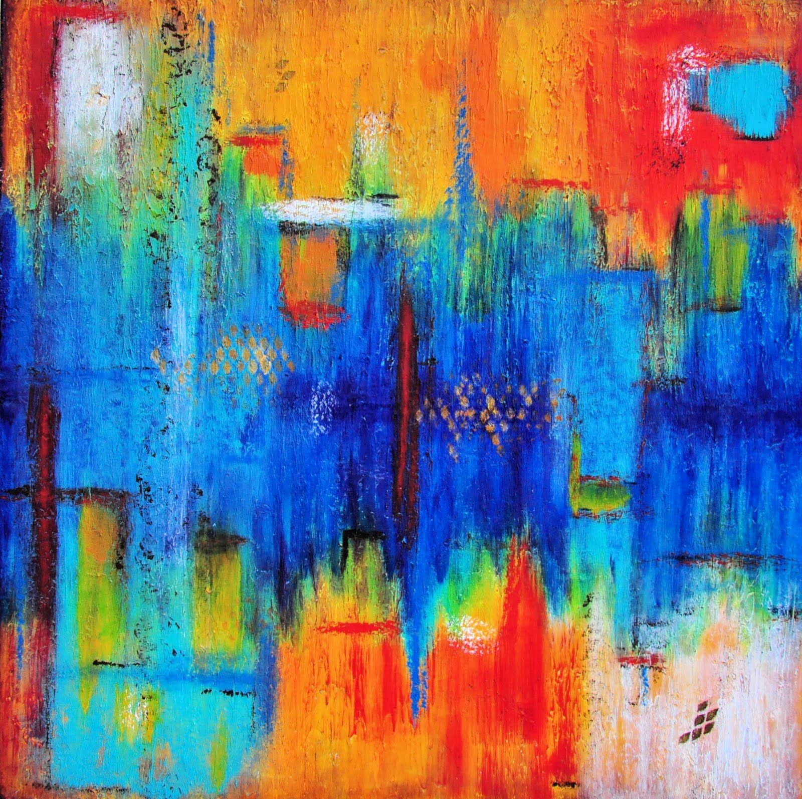 Red Yellow And Green Abstract Art Immersion 2 Blue White Layered Acrylic