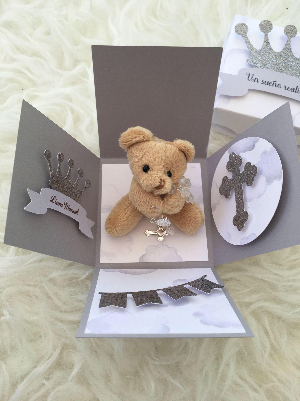 Teddy bear theme baby shower invitation. Explosion box invitation ...