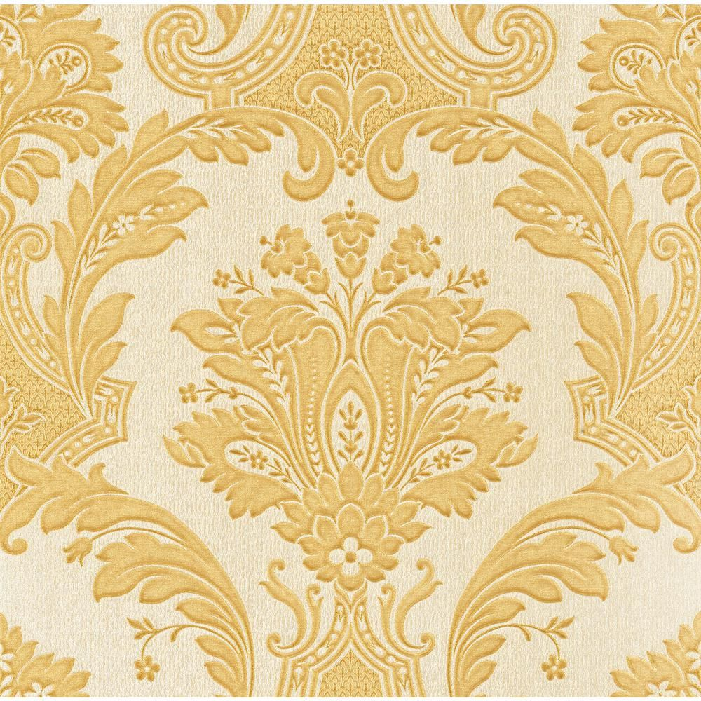 Brewster Dis Marco Polo Gold Damask Wallpaper-Z1705 - The Home Depot