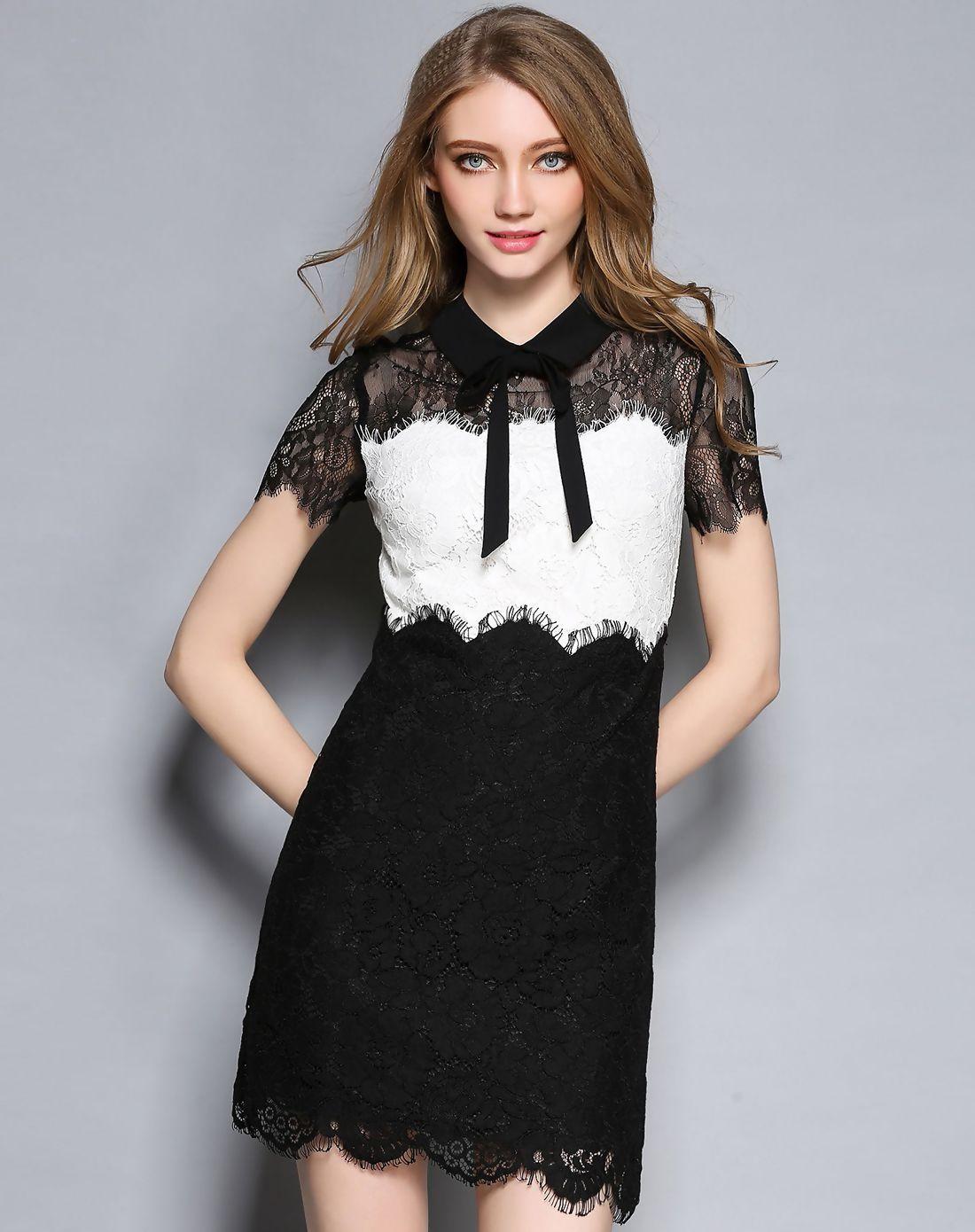 #AdoreWe #VIPme Sheath Dresses❤️Designer Jescakoo Black & White Lace Bow Collar Paneled Sheath Mini Dress - AdoreWe.com