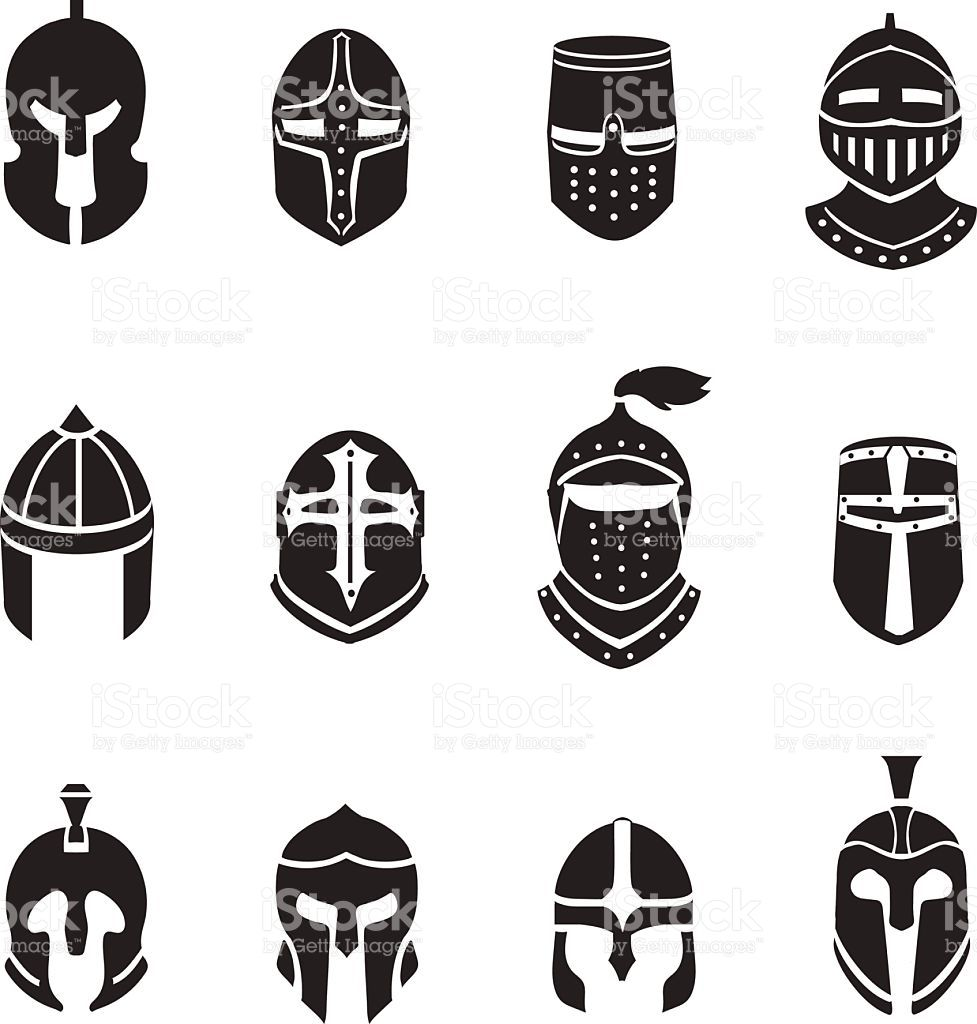 Warrior helmets black icons or logos set. Soldier armor c81e02338