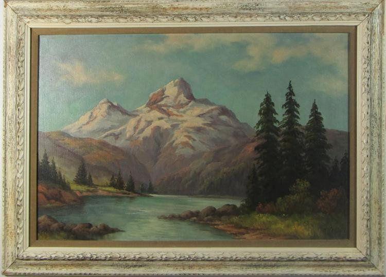 Original Oil Painting Mountain Landscape Framed Vintage Oil Painting Vintage Mountain Landscape Signed Oil Framed Oil Painting Vintage Oil Painting Painting
