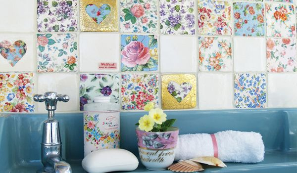 Homely Details Coming Up Roses Patchwork Tiles Vintage Tile Accent Wall Designs