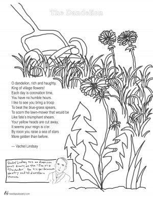 Coloring Page Poem The Dandelion by Vachel Lindsay #