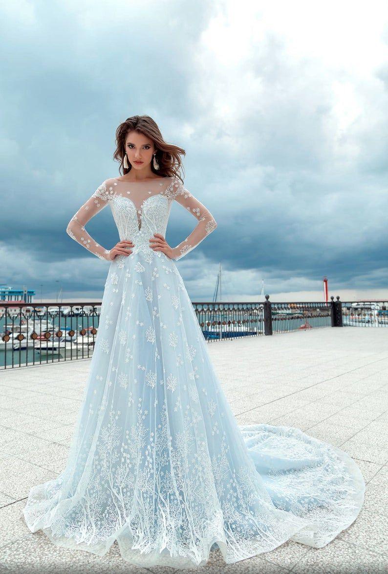 Light Blue Color Wedding Dress Soft Wedding Dress Long Bridal Dress Off The Shoulders Neckline Dress Light Blue Wedding Gown Blue Wedding Gowns Blue Wedding Dresses Long Wedding Dresses [ 1173 x 794 Pixel ]