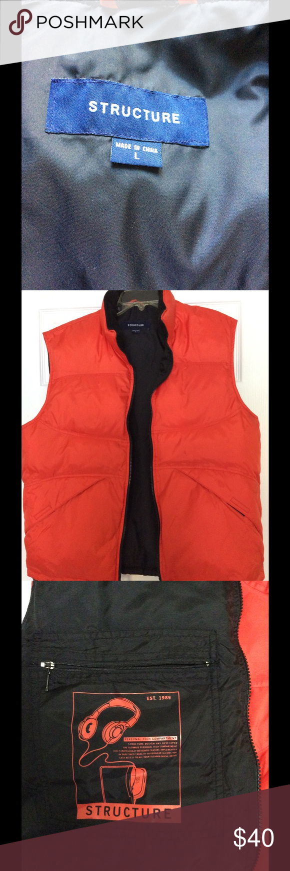MUST GO!! ❤️Structure down vest❤️❤️ Perfect for the cold weather! Nice fleece collar to keep your neck warm! Two outer pockets and one big inner pocket with zipper closure for your essentials. Like new. structure Jackets & Coats Vests