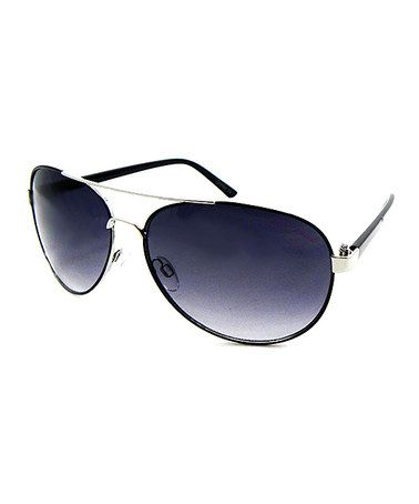 Another great find on #zulily! Black & Silver Oval Pilot Sunglasses #zulilyfinds