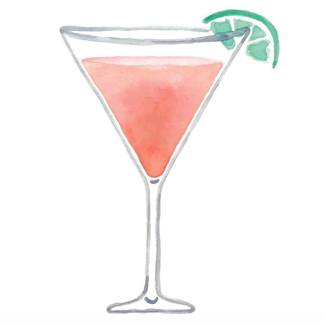 Watercolor Cosmo Cosmopolitan Painting Drink Cocktail Cocktails