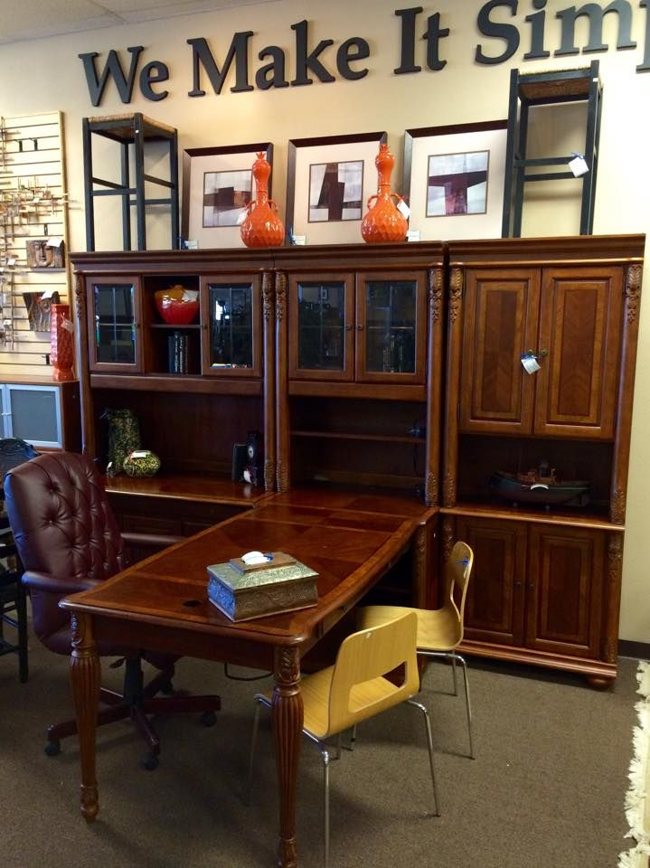 Haverty S Home Office Wall Unit With Partners Desk And Matching Lateral File This Set Retails