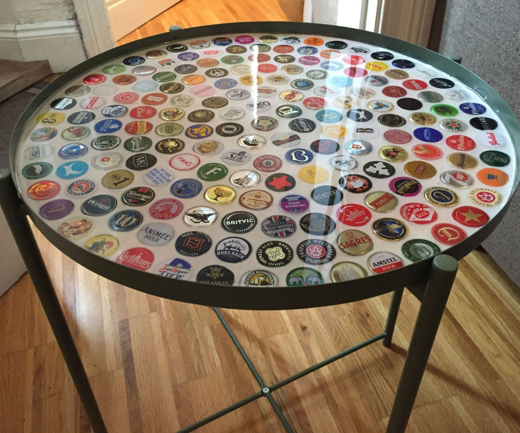 I First Saw A Bottle Cap Table On Pinterest A