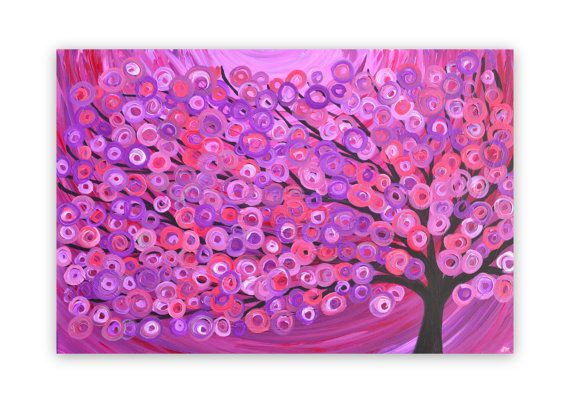Tree Painting Purple Red Pink Love This