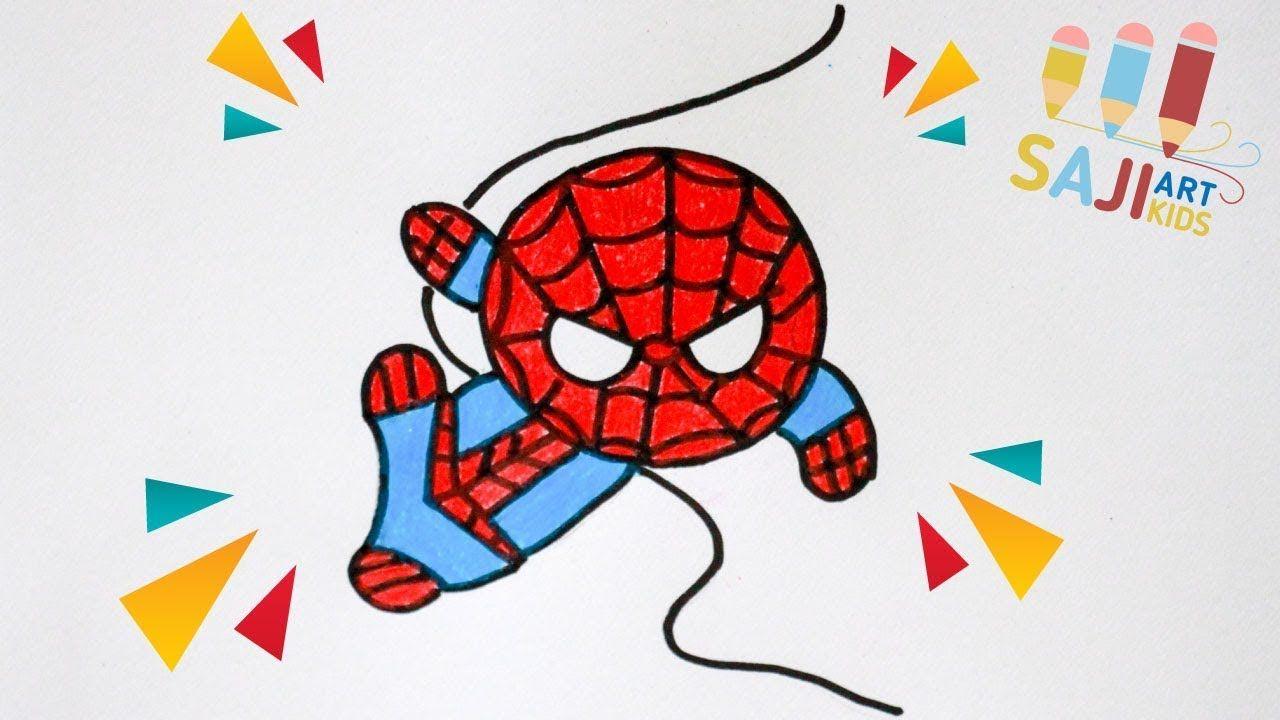 วาดร ปสไปเดอร แมนแบบง ายๆ วาดร ประบายส ไม สวยๆ How To Draw A Spiderm