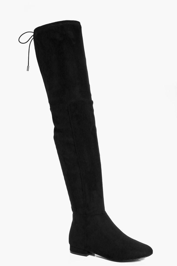 a92c8a236 boohoo Lois Wide Fit Flat Thigh High Tie Back Boot