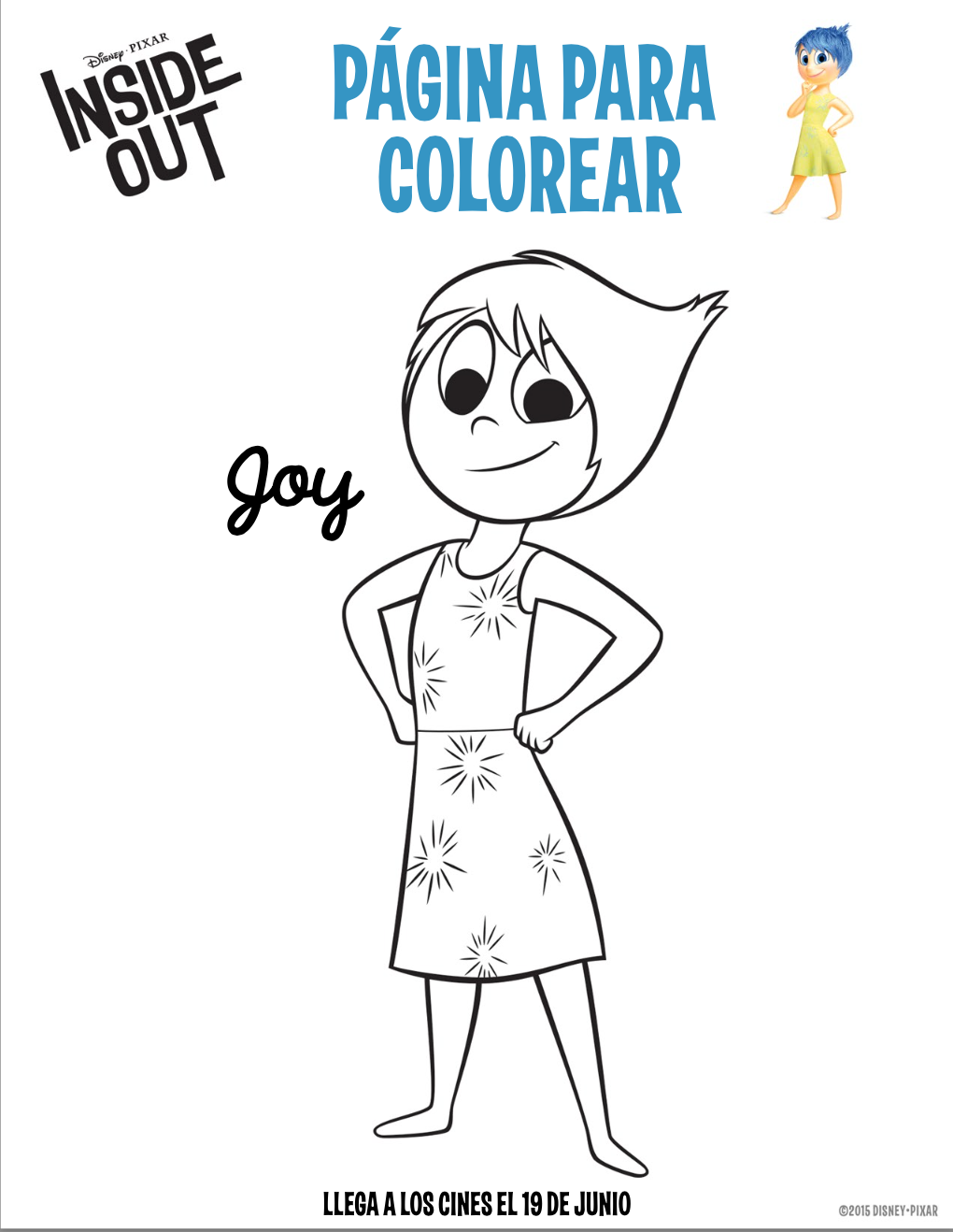 Disney inside out coloring page - Dibujo Para Colorear Joy Inside Out Png 1020 Disney Inside Outcoloring Pages