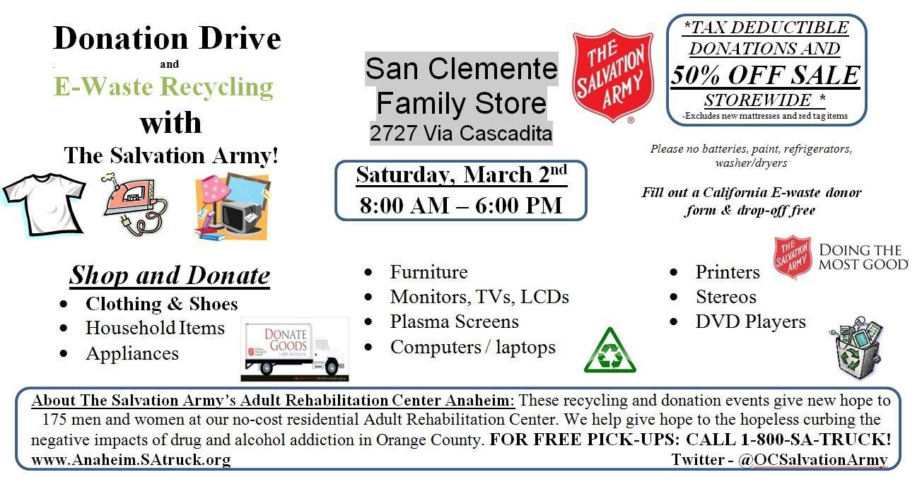130302 San Clemente Store Donation Drive Flyer March 2nd 2013