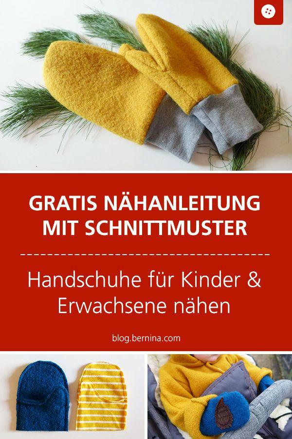 Handschuhe für Groß und Klein nähen - mit Link zum Schnittmuster #diytutorial