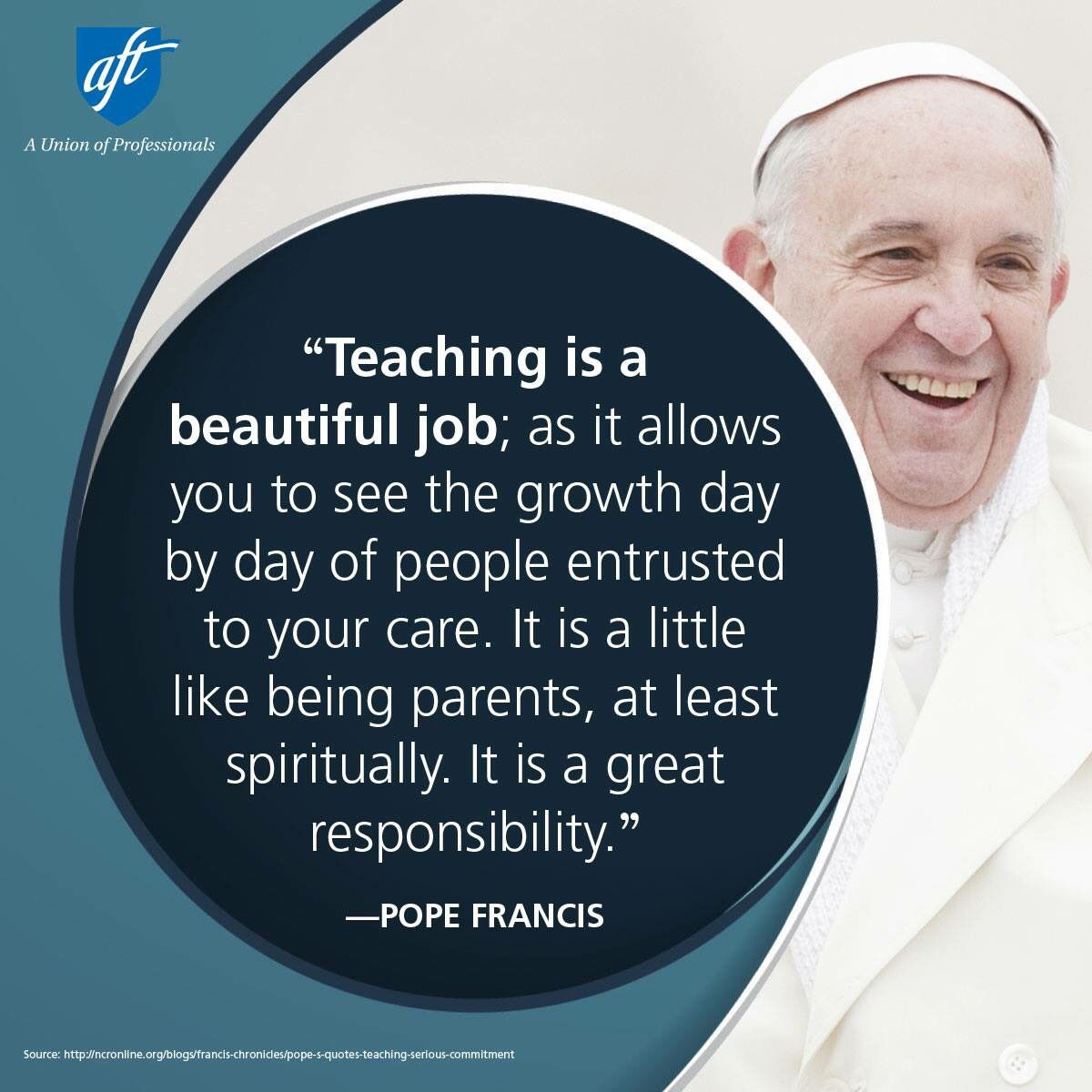 Pope Francis Teacher Quote Pope Francis Teach