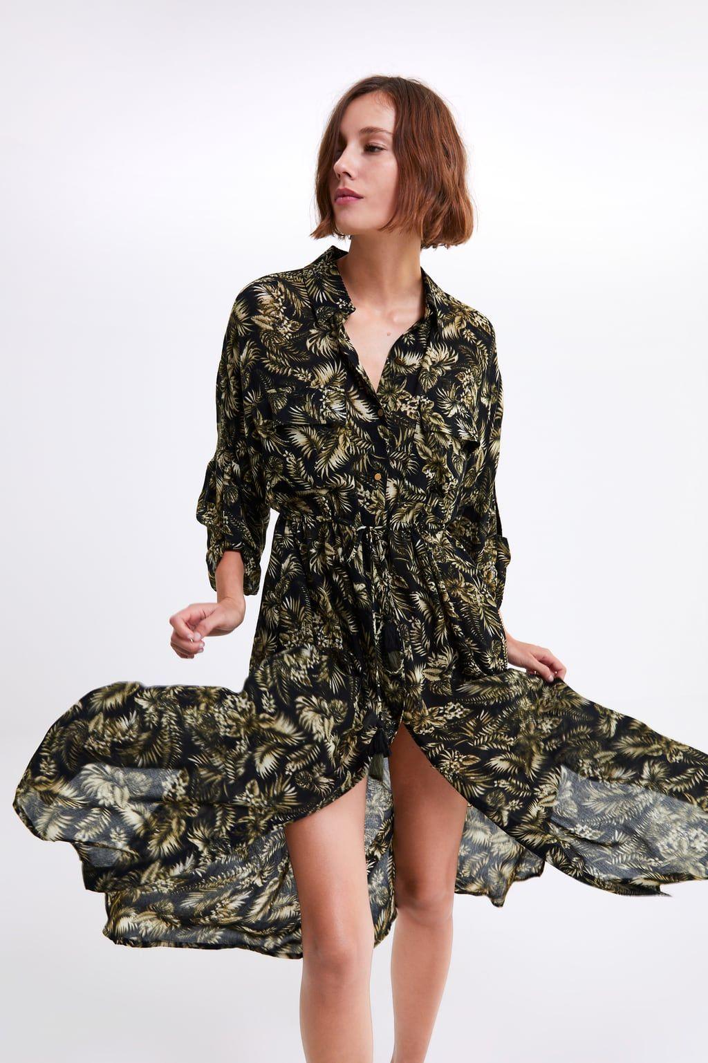 Long Leaf Print Dress View All Dresses Woman Zara United States Womens Midi Dresses Leaves Print Dresses Midi Ruffle Dress