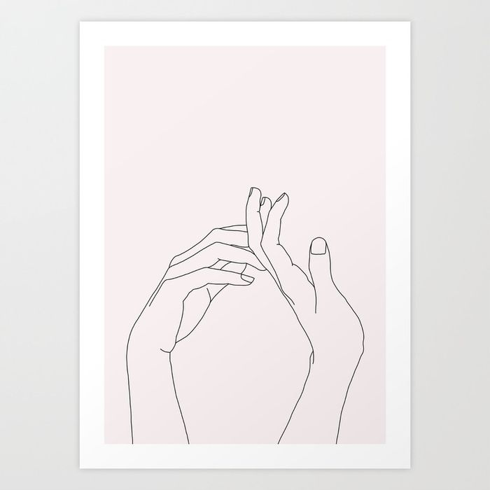 Buy Hands line drawing illustration - Abi Natural Art Print by thecolourstudy. Worldwide shipping available at Society6.com. Just one of millions of high quality products available.