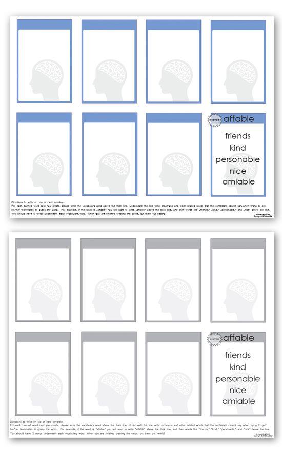 vocab cards template - Alannoscrapleftbehind