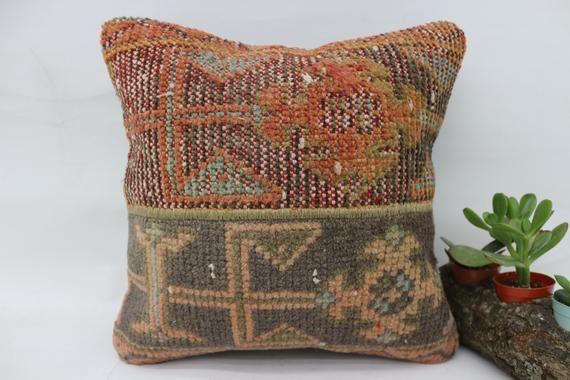 14x14 Kilim Pillow, Cover Pillows, Small Pillow,Throw Pillow, Orange Pillow, Handmade Pillow, Organic Pillows, Cushion Case, SP3535 1936