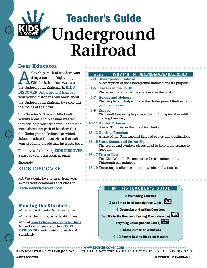 This free Lesson Plan for Kids Discover Underground Railroad is – Underground Railroad Worksheet