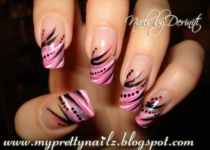 Pink French Tip Nail Designs | ... pink kiss nail art paint black ...