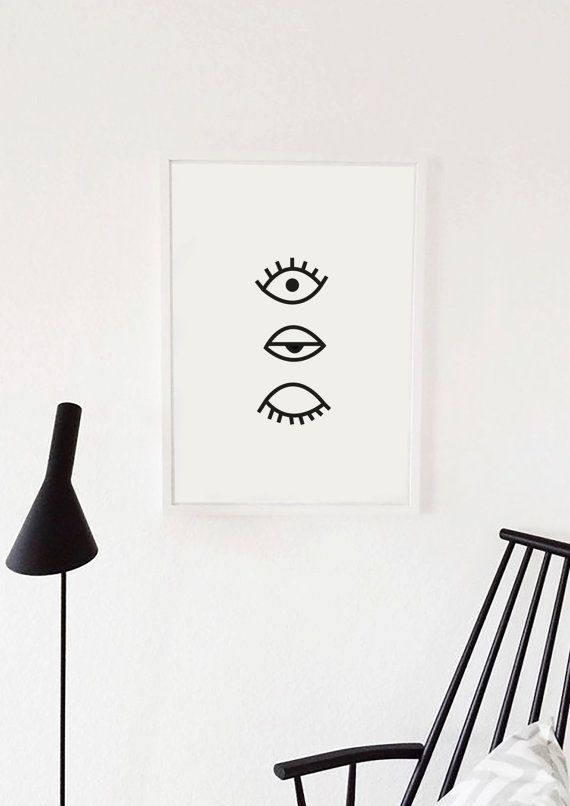 Fashion art poster eye print eyelash modern home decor eyelashes minimal scandi art evil eye black