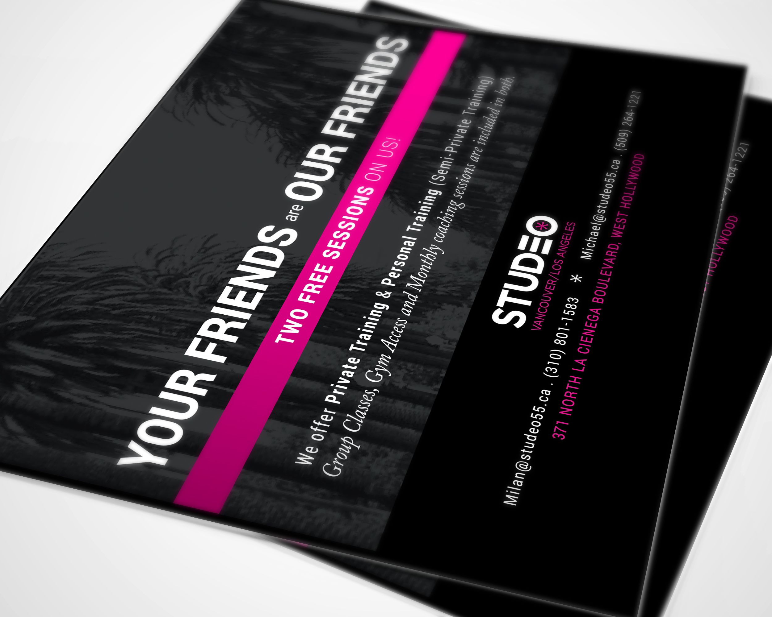 """Marketing, promo flyer for Studeo Gyms, Los Angeles location. Super gloss, 5x7"""" card."""
