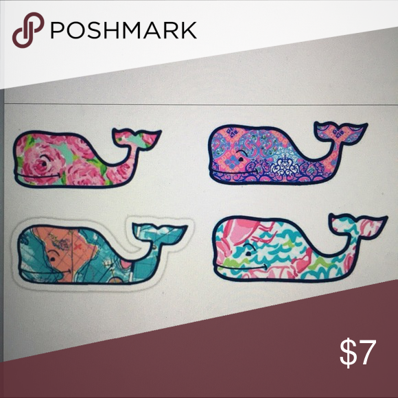 4 Vineyard Vines Inspired Stickers sheet 4 Vineyard Vines inspired  homemade sticker sheet. The picture is of them online before I print to make them. Matte, which means no gloss ontop of them. They are all about an 3-4 inches big give or take. These are not peel and stick stickers. But they are stickers and will work just as great! They come with directions as well but are extremely easy to use.  Place at your own risk. I am not responsible if they do not last based off where you place…