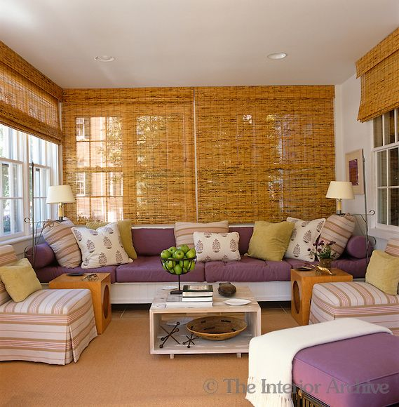 Room of the Day: Rolled split-bamboo blinds and a hand-painted sisal rug complete the contemporary look of this sun room decorated in lavender, purple and acid green - Tom Scheerer design 6.20.2013